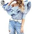 YEJIA FASHION Sexy Women Autumn Off Shoulder Long Sleeve Blouses Shirts Female Blue Striped Print Slim Ruffles Tops Blusas