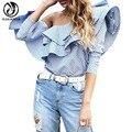 YEJIA MODA Sexy Otoño de Las Mujeres Del Hombro de Manga Larga Blusas Camisas Mujer Azul A Rayas Imprimir Delgado Ruffles Tops Blusas