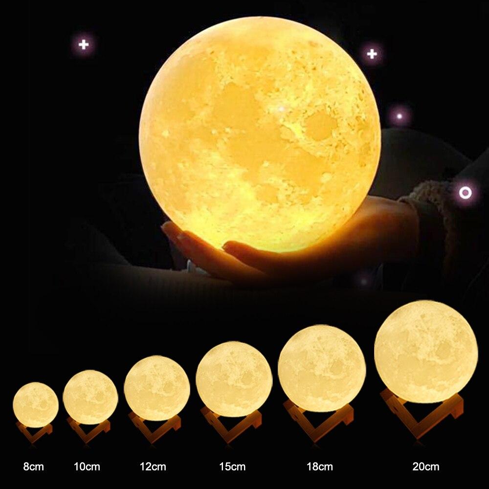 Lámpara de Luna recargable zabuo DC5V 3D imprimir Luna lámpara de noche Control táctil brillo (amarillo + blanco) regalos creativos de Luz De Luna