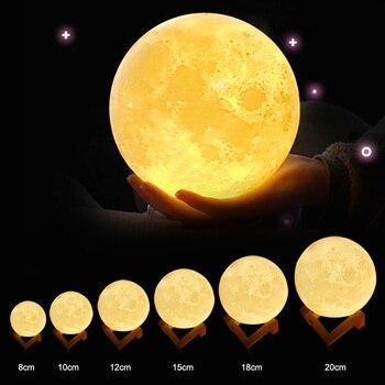 ZINUO перезаряжаемая луна лампа DC5V 3D принт Луна Ночная лампа сенсорное управление яркость (желтый + белый) Лунный свет креативные подарки