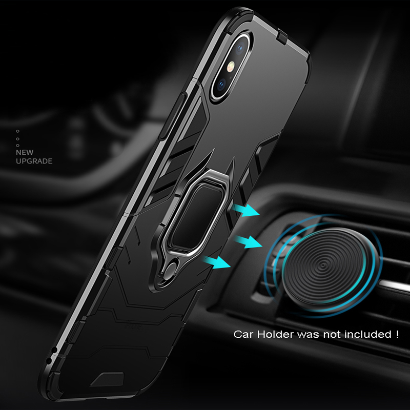 Luxury Armor Shockproof Kickstand Phone Case For iPhone XS MAX XR XS X 8 7 6S Plus 5S SE Ring Stand Holder Bracket Cover Funda (10)