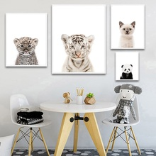 Poster Nordic Animal Cat Tiger Panda Wall Art Canv