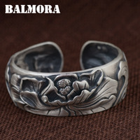 BALMORA 990 Pure Silver Flower Open Bangles For Women Lover Gift Vintage Thai Silver Jewelry About