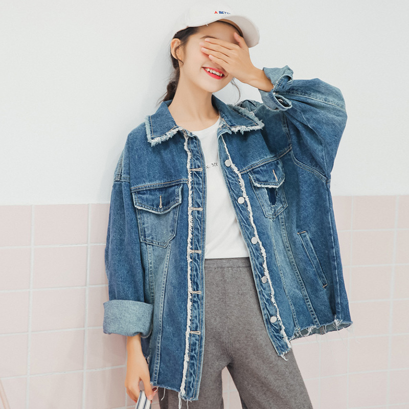 Boyfriend Lapel Women   Jackets   and Coats Vintage Denim Blue Jean   Jackets   Fringed Hem Loose Ladies   Basic     Jacket   femme 2018