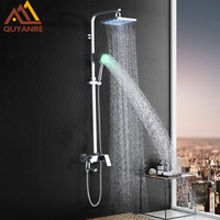 Quyanre LED Bath Shower Faucet Set Rainfall LED Shower Head Handheld Shower Wall Mounted 3 way Mixer Tap Bath Shower System Kit