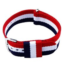 Mode Canvas Donkerblauw Wit en Rode Streep Nieuwe Perfecte Geschenken Vervanging Polshorloge Band Strap 20mm nov27(China)