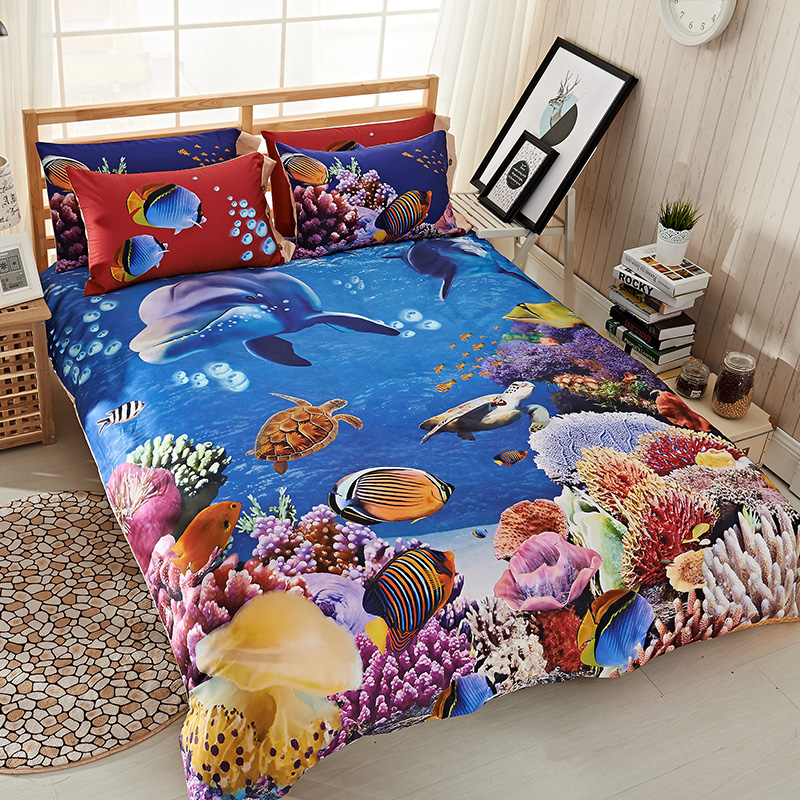 Blue sea dolphin 3d coral reef fish print bedding set for Fishing bedding sets