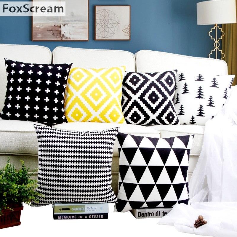 Scandinavian Cushion Cover White and Black Home Decor Cushions Decorative Pillows Yellow Geometric Pillowcase for Sofa 45x45cm