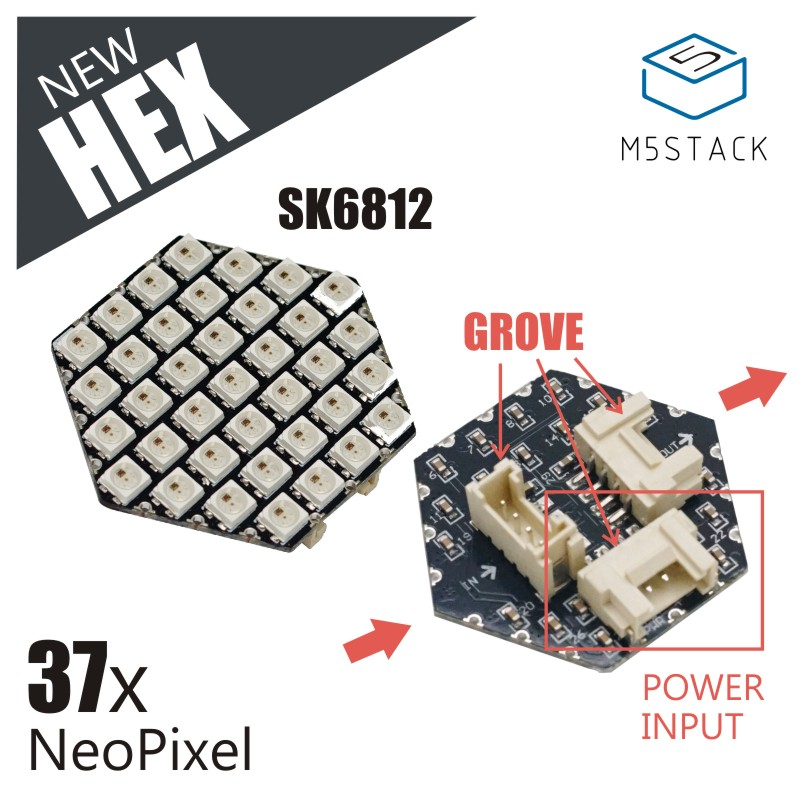 M5Stack New HEX NeoPixel LED Board with WS6812 37pcs NeoPixel Three GROVE Port and Power Input Compatible with M5Stack UI-FlowM5Stack New HEX NeoPixel LED Board with WS6812 37pcs NeoPixel Three GROVE Port and Power Input Compatible with M5Stack UI-Flow