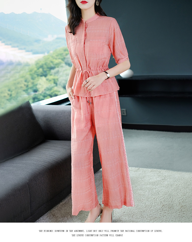 2019 Summer Two Piece Sets Outfits Women Blue Pink Short Sleeve Tunics Tops And Wide Leg Pants Suits Office Elegant 2 Piece Sets 49