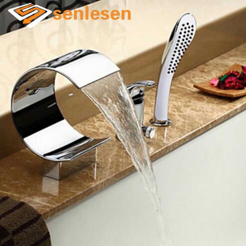 Senlesen Bathtub Faucet Single Handle Chrome Brass Hot and Cold Mixer Tap Deck Mount Hot and Cold Mixer Tap Para Bathroom Shower micoe hot and cold water basin faucet mixer single handle single hole modern style chrome tap square multi function m hc203