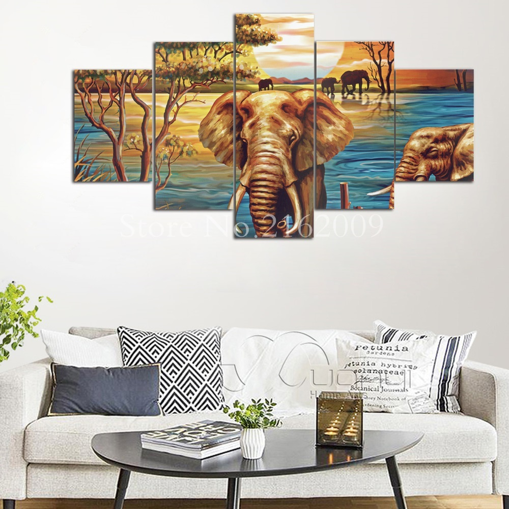 HD Printed Pictures Frame Canvas Wall Art 5 Pieces Sunset River ...