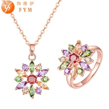 FYM Fashion Brand Flower Jewelry Sets Rose Gold Plated Colorful Crystal Pendant Necklace Zircon Rings set For Women Jewelry fym fashion colorful necklace rings hollow flower shape wedding bridal jewelry sets zircon jewelry set for women party