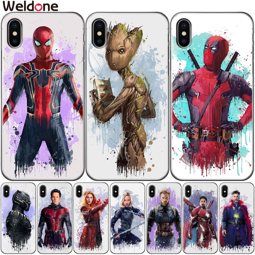 Cool Marvel Avengers Case For iPhone XS Max XR X 7 6s 8 Plus 5S SE Iron Man Spiderman Deadpool Groot Cases Cover Etui Coque чехлы марвел