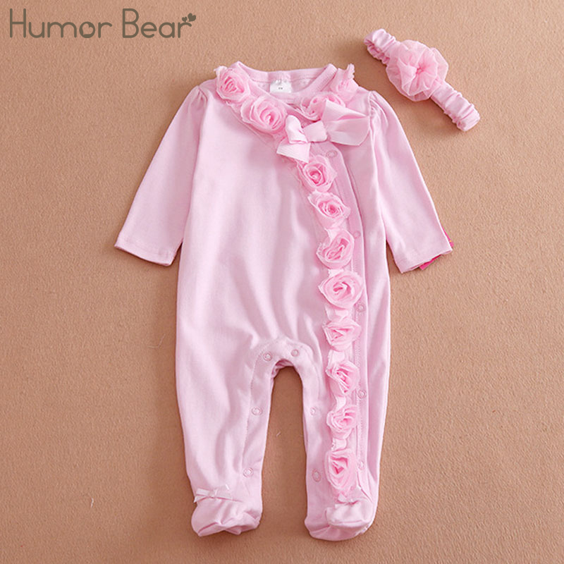 Humor Bear NEW Newborn Baby Girl Clothes Bow/Flowers Romper Clothing Set Jumpsuit & Headband 2 PC Cute Infant Cirls Rompers newborn infant baby romper cute rabbit new born jumpsuit clothing girl boy baby bear clothes toddler romper costumes