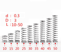 304 stainless steel spring small spring compression spring wire diameter 0.3 * 3* 10/15/20/25/30/35/40/45/50mm