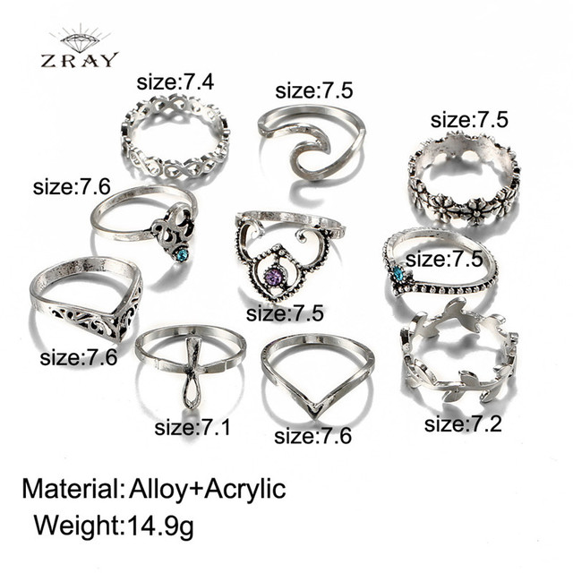 10 Piece Vintage Style Rings Set