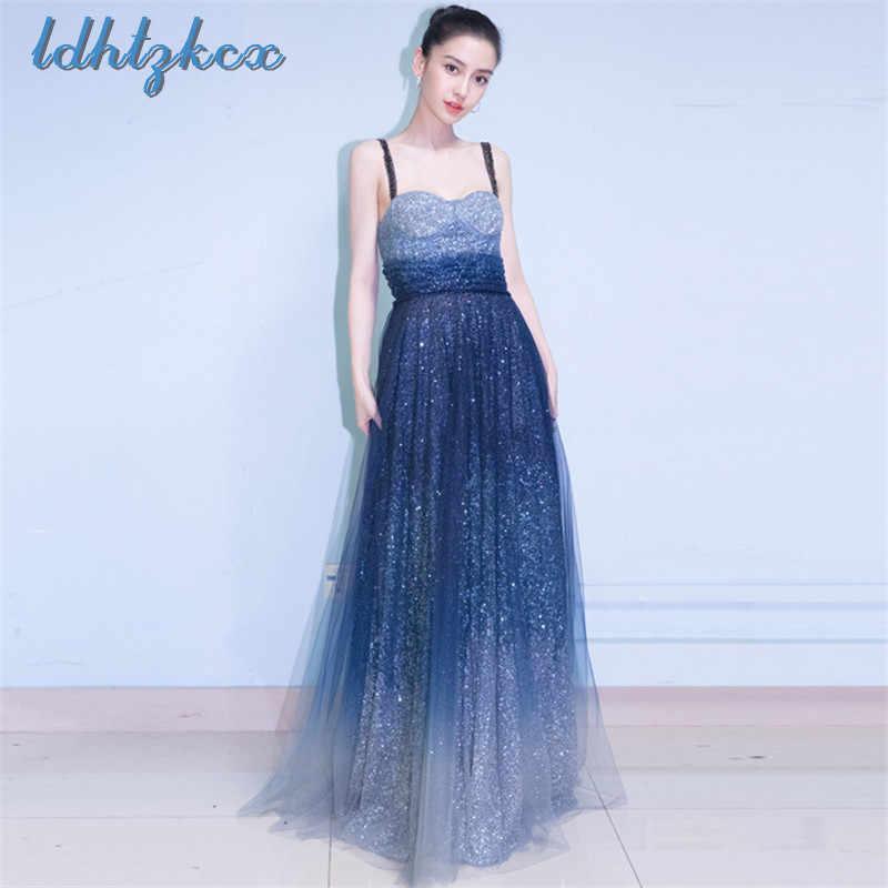 Звездное небо градиент пайетки прибил жемчужинами женские летние китайский Стиль Ретро Высокая Талия годовой вечерние банкетные длинное платье L249