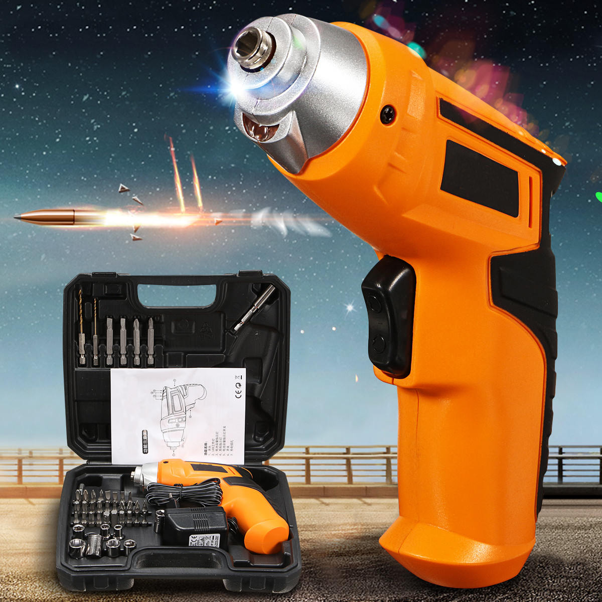 45PCS Electric Power Drill Tool Rechargeable Household Multi-function Electric Screwdriver Power Tools цена