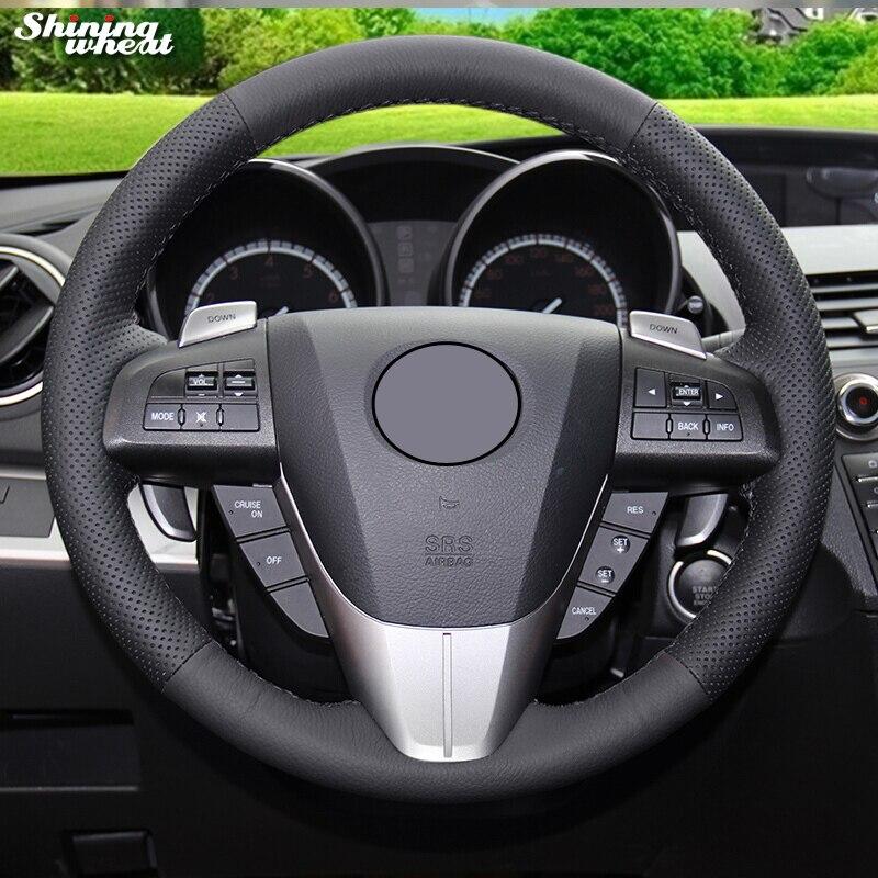 BANNIS Genuine Leather Car Steering Wheel Cover For Mazda 3 Axela 2008-2013 Mazda CX-7 CX7 2010-16 Mazda 5 2011-2013
