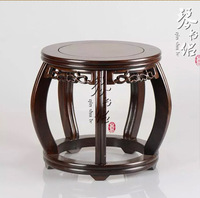 Red woodcarving solid wood pedestal vase aquarium bonsai jade Buddha porcelain flower base black Zi Mu Drum