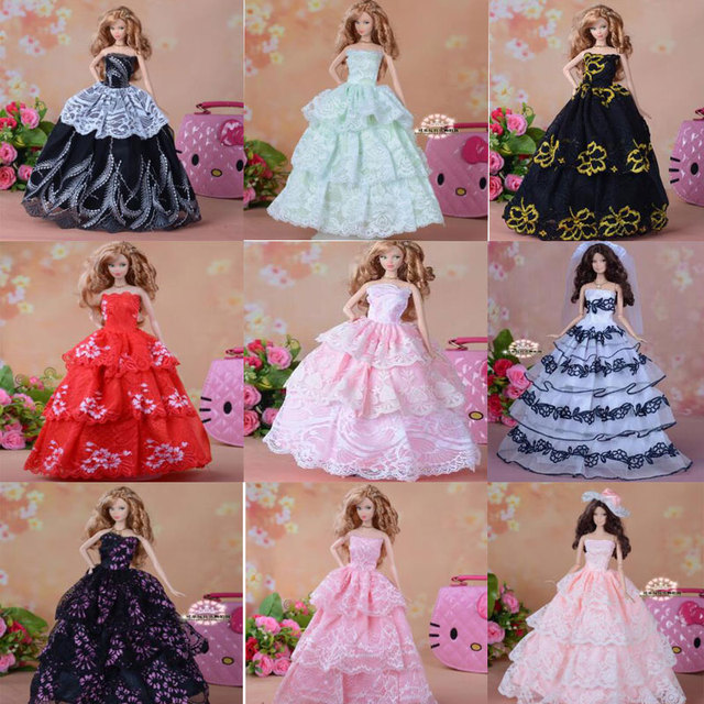 CXZYKING Quality Embroidery Gown Wedding Dress For Barbie Doll Princess Bride Clothes