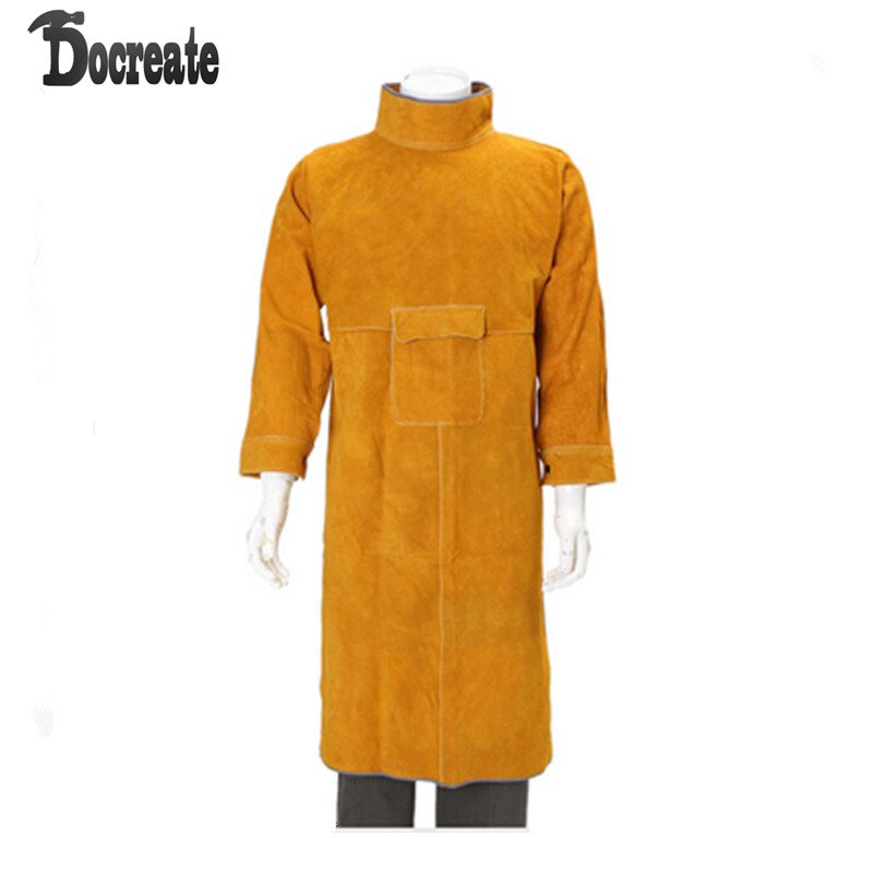 Durable Leather Welding Clothes Long Coat Apron Protective Clothing Apparel leather welding long coat apron protective clothing apparel suit welder workplace safety clothing page 3