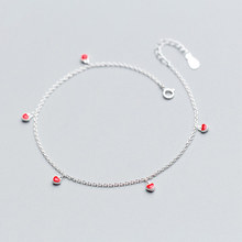 Beach 925 Sterling Silver Foot Anklets For Women Barefoot Sandals Small Red Heart Chain Ankle Bracelet Girls Lady Leg Jewelry lukeni latest female heart bracelets jewelry top quality silver 925 sterling silver anklets for women party accessories lady
