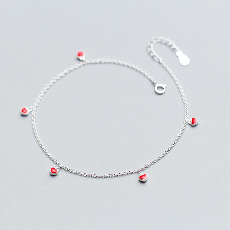 Beach 925 Sterling Silver Foot Anklets For Women Barefoot Sandals Small Red Heart Chain Ankle Bracelet Girls Lady Leg Jewelry