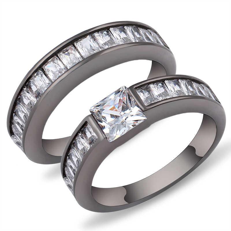 เรขาคณิตสีม่วงแหวนชุด Black Gold Filled เครื่องประดับคริสตัลแหวนแต่งงาน Vintage Bague Femme ของขวัญวันวาเลนไทน์ของขวัญ