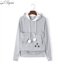2017 New Cartoon Hooded Hoodies Lover Cats Kangaroo Dog Hoodie Long Sleeve Sweatshirt Front Pocket Casual Animal Ear Hoodie 020