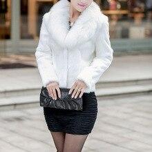 Women Fake Fur White and black Jacket Winter Nature Fur Coat Ladies Fur Outerwear Furry Thick long sleeve Fur Coat
