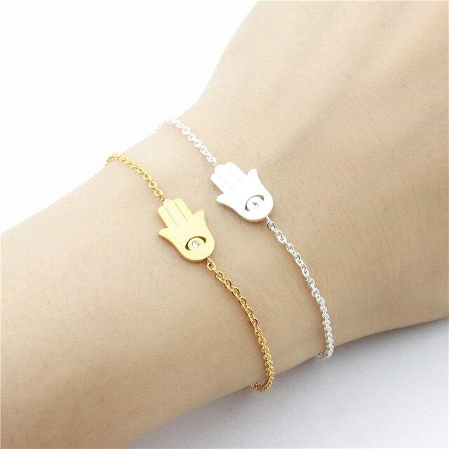 Good Luck Amulet Cz Hamsa Hand Bracelet Femme Turkey Jewelry Stainless Steel Crystal Evil Eye Charm