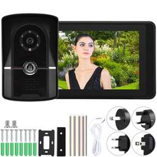 7 Inch LCD Wired Video Door Phone Intercom Doorbell App Remote Control Unlock Entry System 7 lcd wired video door phone visual video intercom door entry access system with waterproof outdoor ir camera for home security