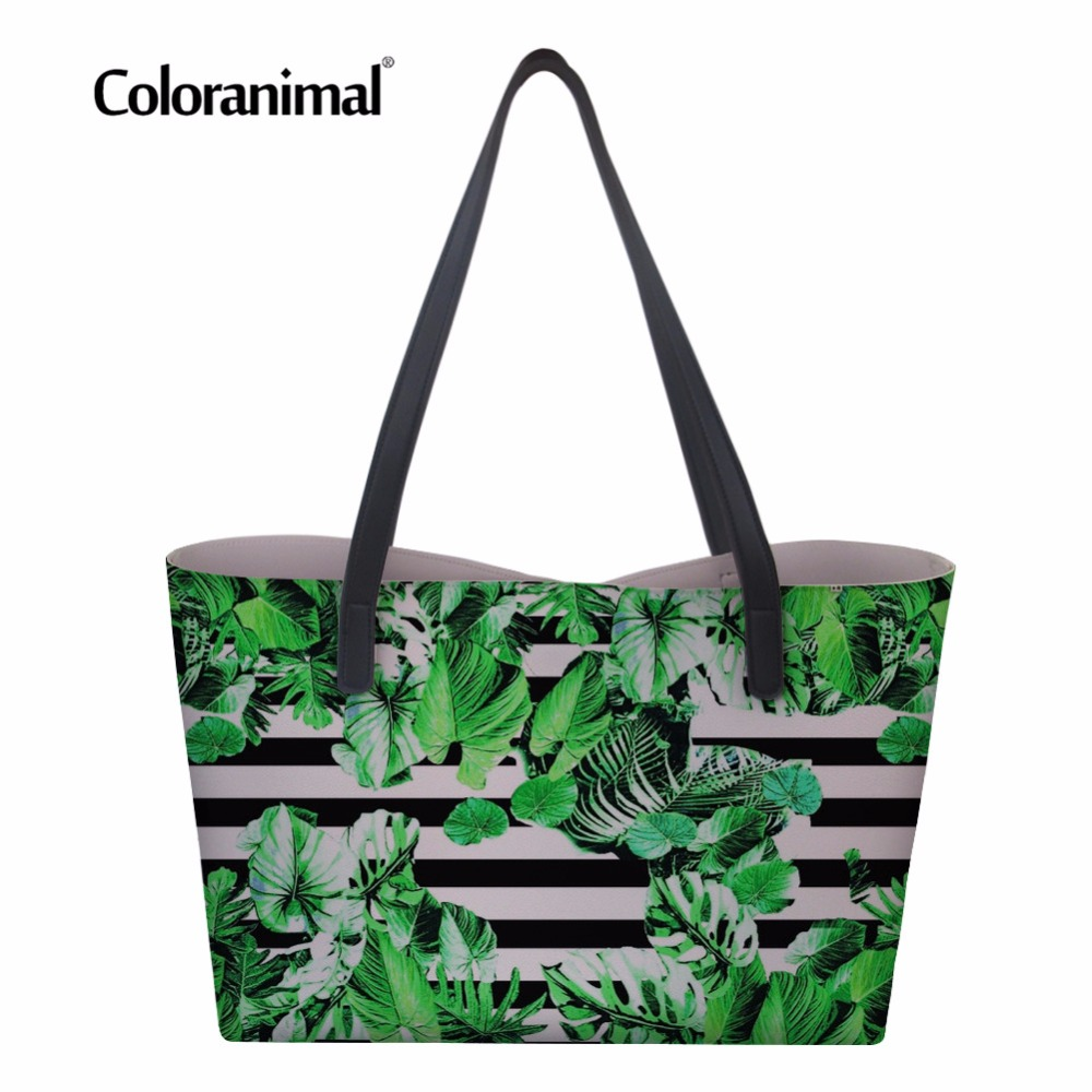 Tropical Leaves Dinosaur Womens PU Leather Tote Shoulder Bags Handbags Casual Bag