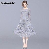 Borisovich Women Casual Long Dress New 2018 Autumn Fashion Hollow Out Lace Big Swing Luxury Elegant Ladies Party Dresses N013