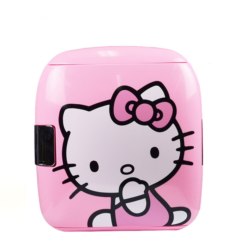 Cartoon Cute Lovely Pink Mini Thermoelectric Refrigerator Student Dormitory Home Car Dual Use Portable Fridge Office Cooler Box
