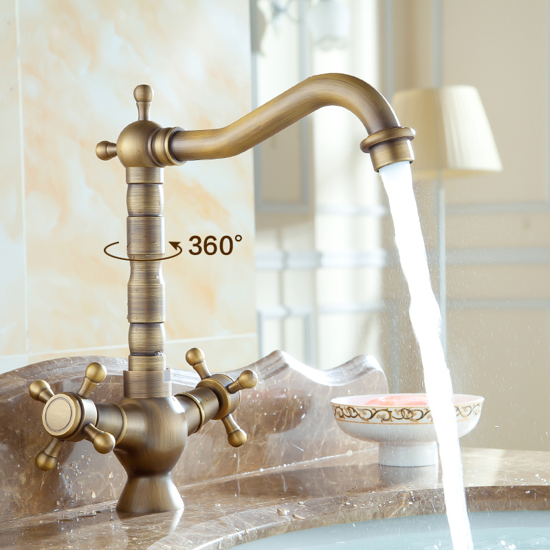 Deck Mounted Dual Handles One Hole Kitchen Sink Mixer Faucet Antique Brass Finished Kitchen Mixer Taps 2 hole deck mounted 360 swivel spout bathroom basin faucet antique brass dual cross handles kitchen sink mixer taps wnf036