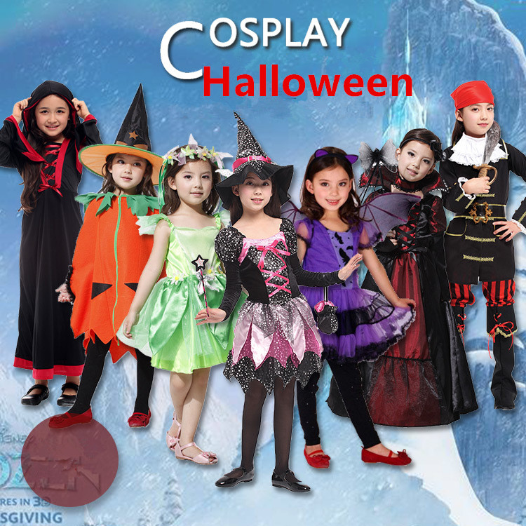 Home Amiable Halloween Children Girl Switch Devil Superman Princess Vampire Scary Cartoon Cosplay Pirate Clothing Clothes Costume Costumes
