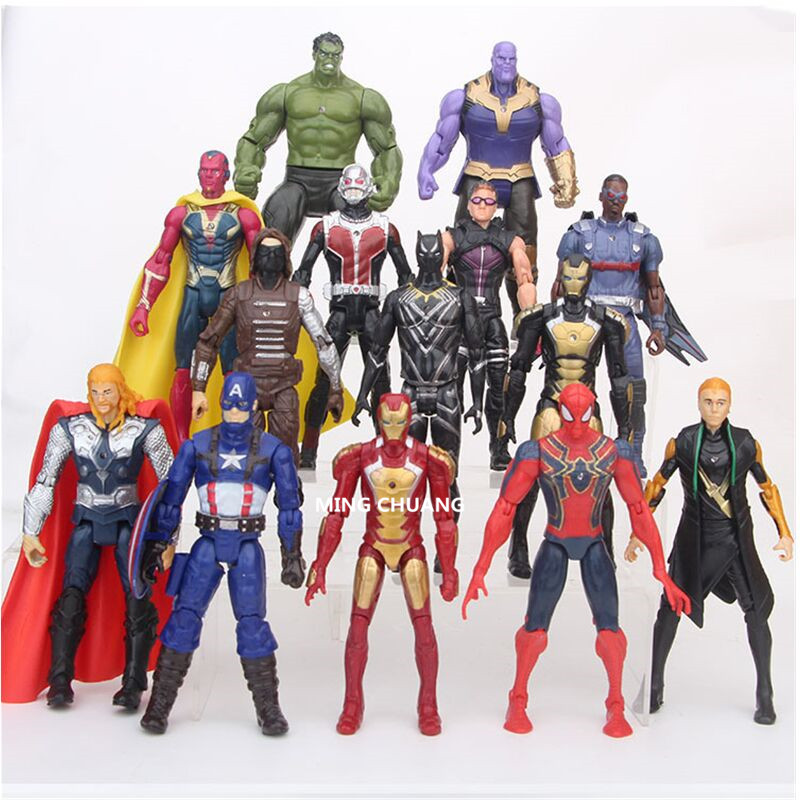 14 Pcs/set Avengers Infinity War Superhero Captain America Hulk Hawkeye Iron Man Spider-Man Plastic Action Figure Toy D414 стоимость