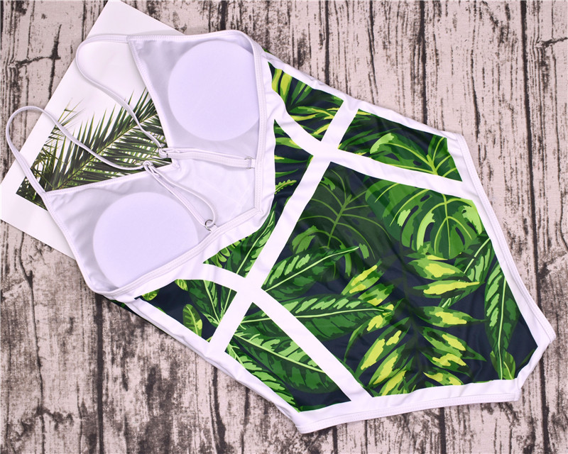 2018 New Green Leaf Swimsuit Sexy One Piece Swimwear Women Swimsuit Backless Pineapple Bathing Suit Swimming Suit Monokini 14