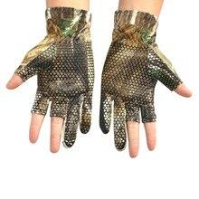 1 Pair Anti Slip Elastic Fishing Gloves Hunting Fishing Camp Gel Glove Skid proof Nonslip Half-finger Gloves Comfortable
