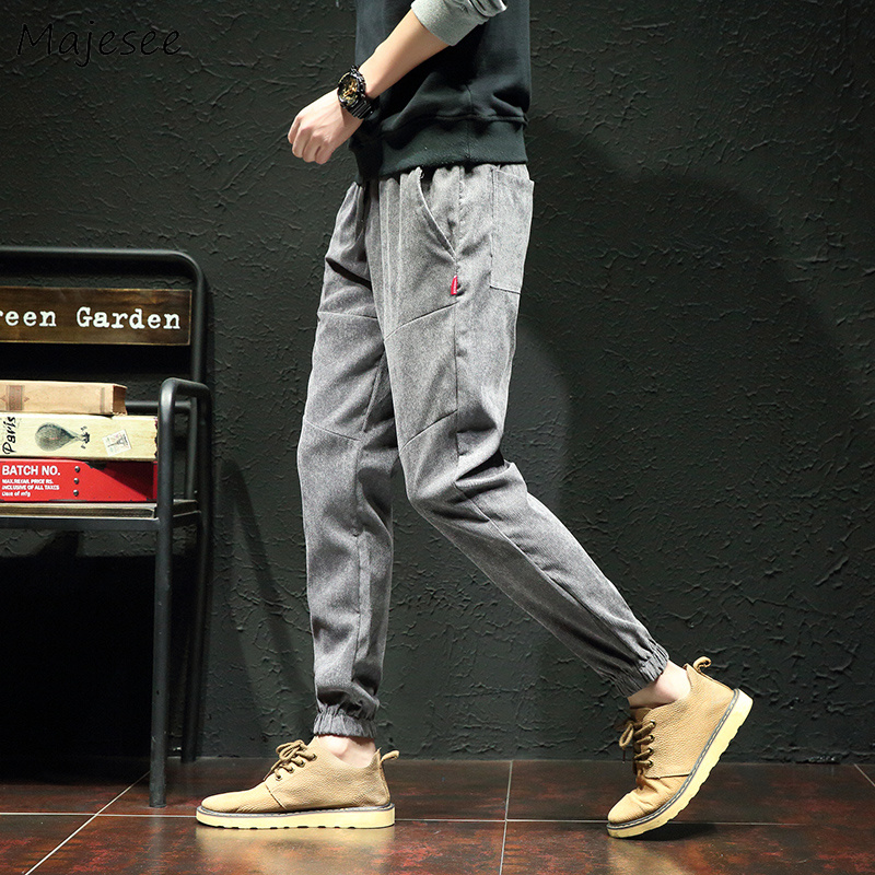 Pants Men 2019 Ankle-length Pockets Leisure Simple All-match Loose Corduroy Harem Pant Mens Plus Size Soft Students Trousers