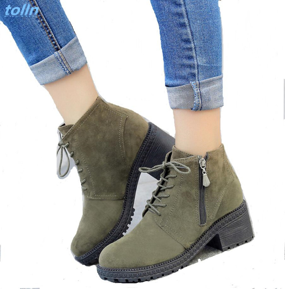 2017new Autumn winter Women Ankle Boots platform Heels Lace up Casual Shoes Woman Retro Oxfords Female