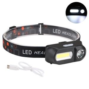 Image 2 - Sanyi Mini COB LED العلوي كشافات رئيس مصباح يدوي USB قابلة للشحن 18650 الشعلة التخييم التنزه ليلة مصباح الصيد