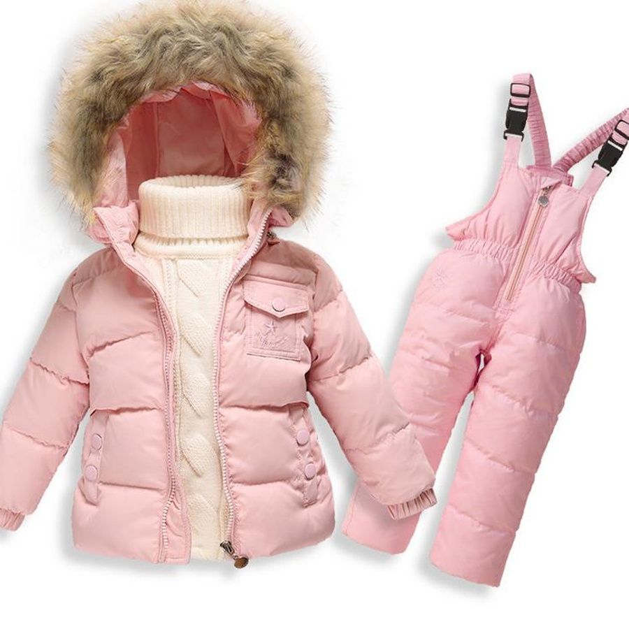 ФОТО Toddler Girl Clothing Winter Set Warm Down Jacket  Faux Fur Hooded Coat +Jumpsuits Thicking Girls Clothing Sets for Solid 1-4T