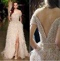 Sequined Sash Short Sleeves Stage Shown Dress Split Side Model Vestidos 2016 Warm Winter Fur A-Line Celebrity Dress 2370