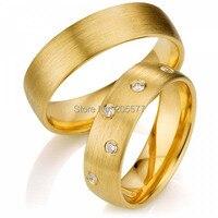 Ручной работы золотое покрытие CZ бриллиантами titanium свадебные украшения пары кольцо комплекты
