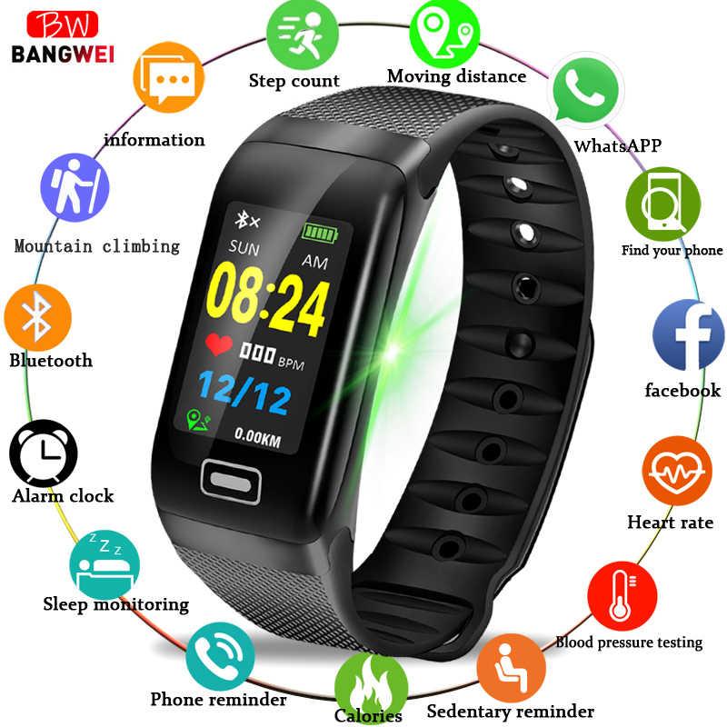 BANGWEI ฟิตเนส smart watch ผู้ชายผู้หญิง Pedometer Heart Rate Monitor กันน้ำ IP67 ว่ายน้ำกีฬานาฬิกาสำหรับ Android IOS