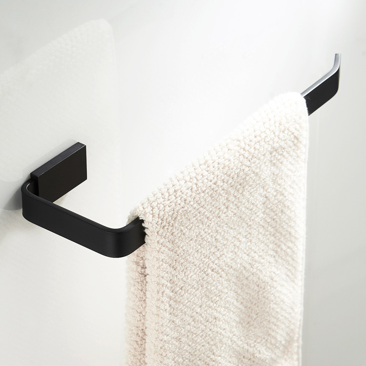 Us 46 02 Morden Towel Ring Black Finish Br Holder Square Bathroom Accessories Wall Mount Bar Spray Paint Hardware In